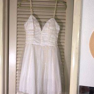 Cream White & Gold Sparkle Dress